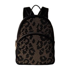 Betsey Johnson Black Leopard Studly Backpack